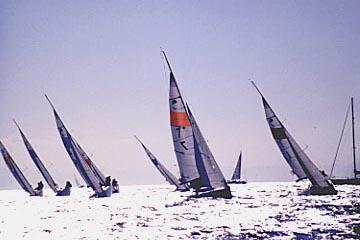 輝いている海を一列になって進むヨットの写真